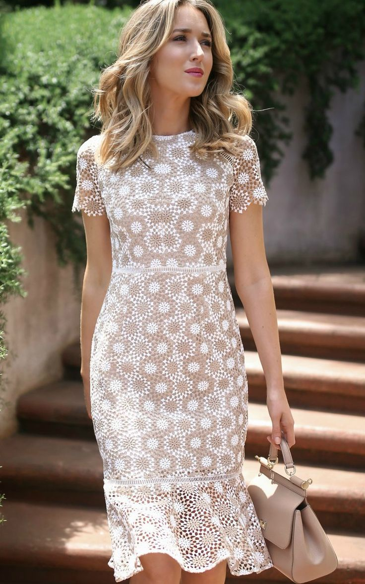 Click For Outfit Details Tan And White Round Disc Lace Fit And Flare Sheath Dress White Strappy Sandals What To Wear To Bap Fashion Dresses Fashion Dresses [ 1176 x 736 Pixel ]