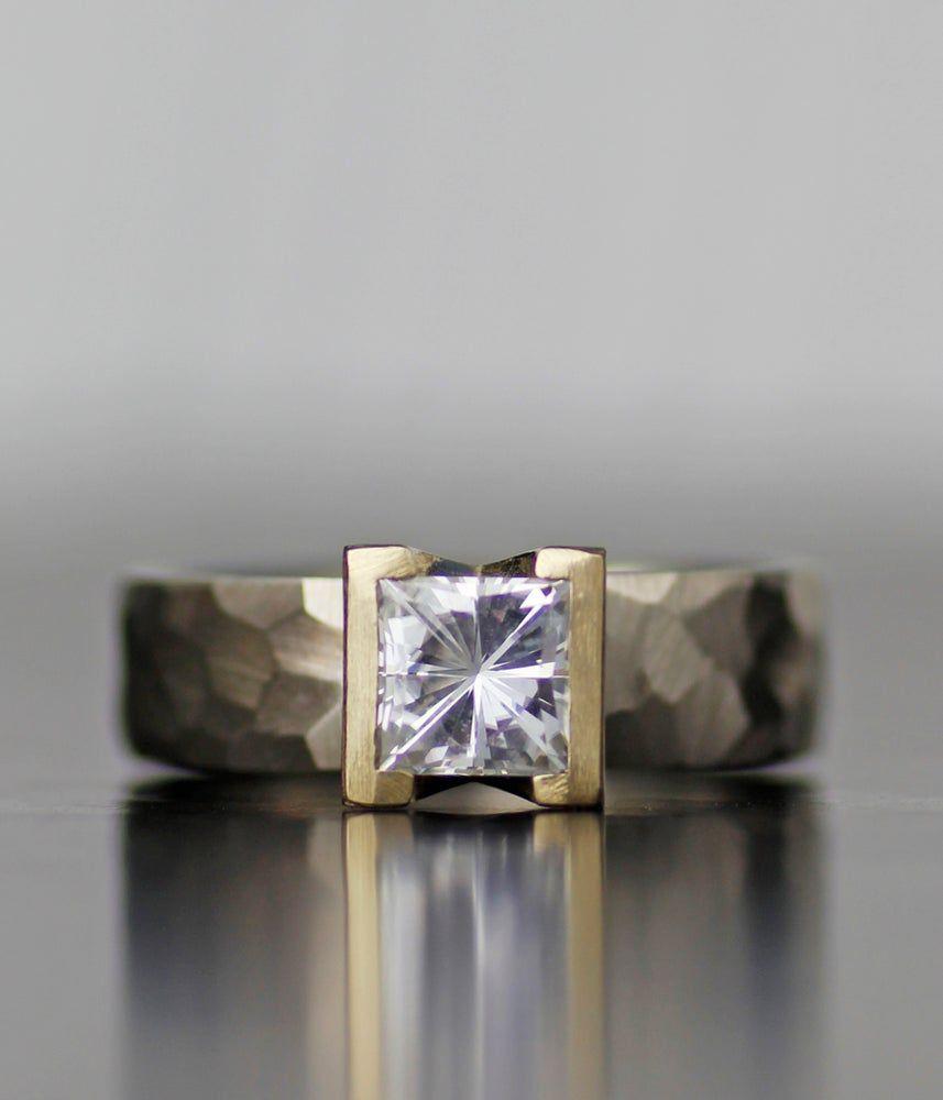 Lodestar Engagement Ring Wedding Band Set Moissanite Women S Wedding Ring 14k Gold Palladium Engagement Rings Wedding Bands Set Diamond Alternative Engagement Ring Modern Engagement Rings