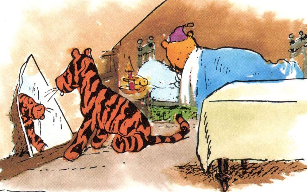 Tigger looks in the mirror while Pooh sleeps