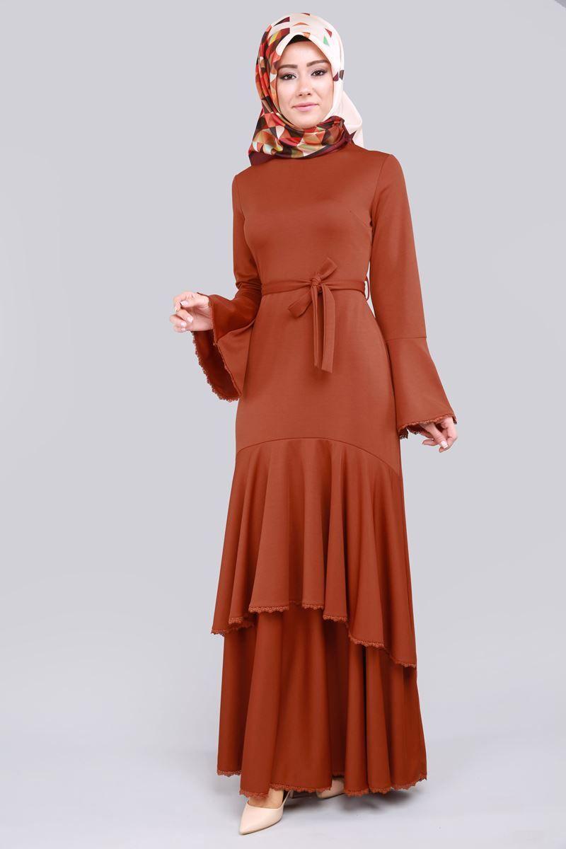 En Yeni Katli Volan Kol Elbise Kiremit Urun Kodu Bis4184 89 90 Tl Elbise Islami Giyim Elbise Modelleri
