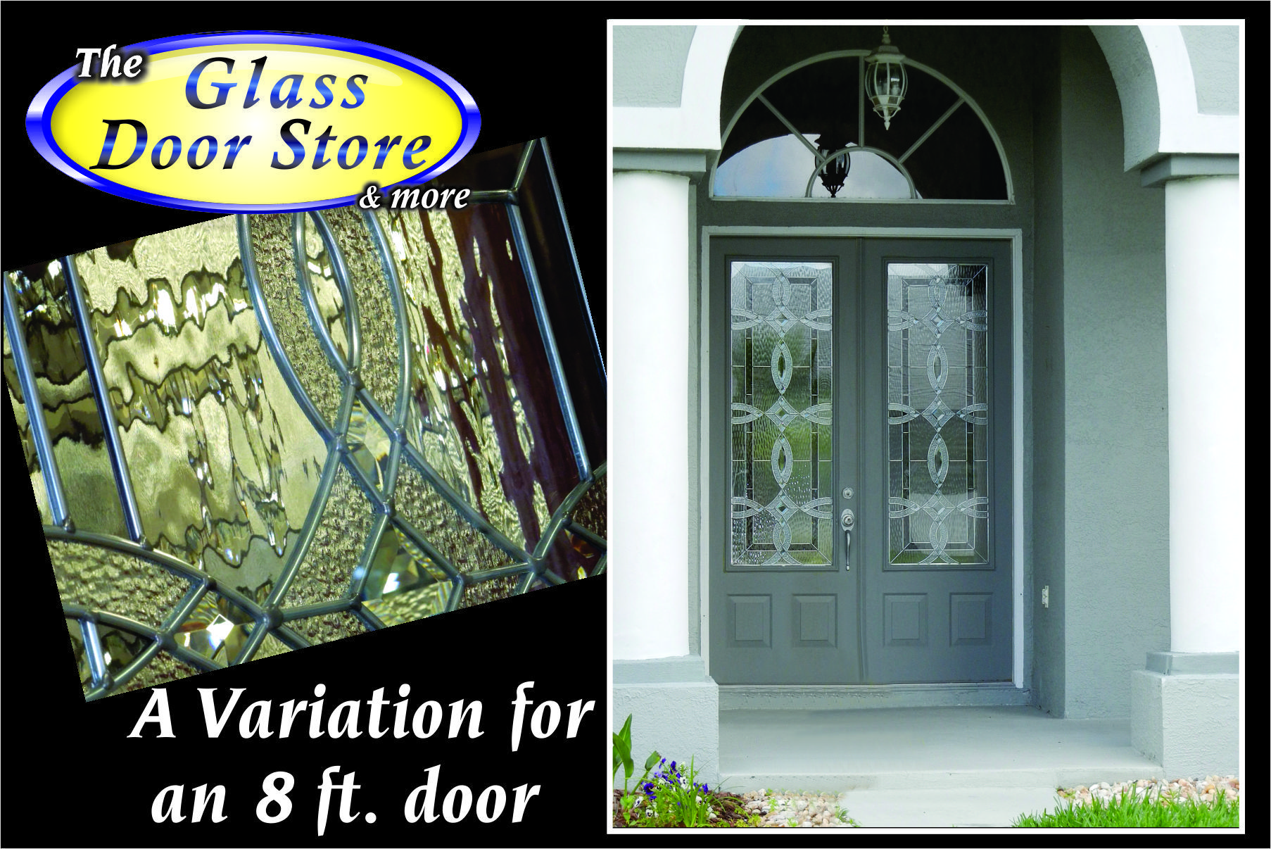 Double 8 Ft Front Doors With Partial Glass Door Inserts For A 34