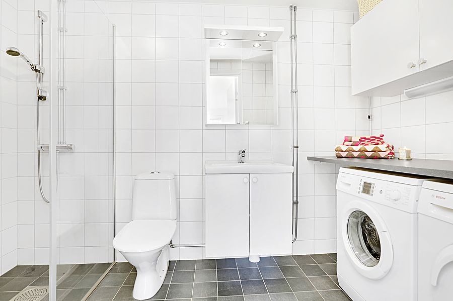 Standard Swedish Bathroom You Can Find In New Apartments Washing Machine Dryer Included Washing Machine Dryer Washing Machine Bathrooms Remodel