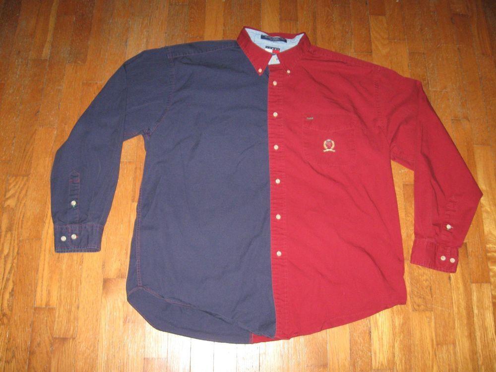 Vintage Tommy Hilfiger Colorblock Shirt Lion Logo Polo Hip Hop 90s