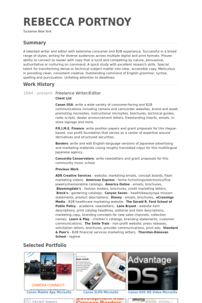 freelance writer/editor Resume example Free resume