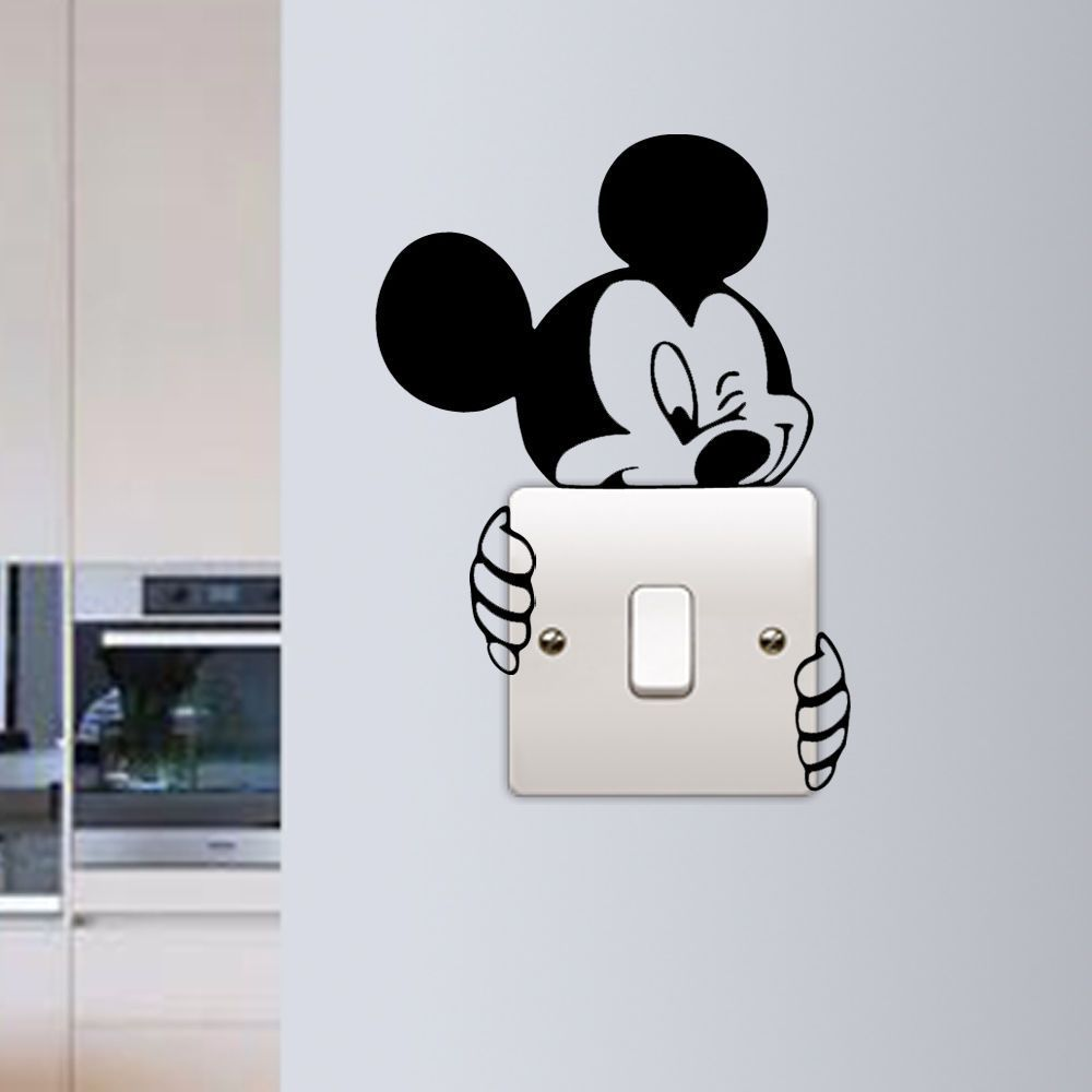 Mickey mouse wall sticker switch vinyl decal funny lightswitch kids room diy in home furniture diy home decor wall decals stickers ebay