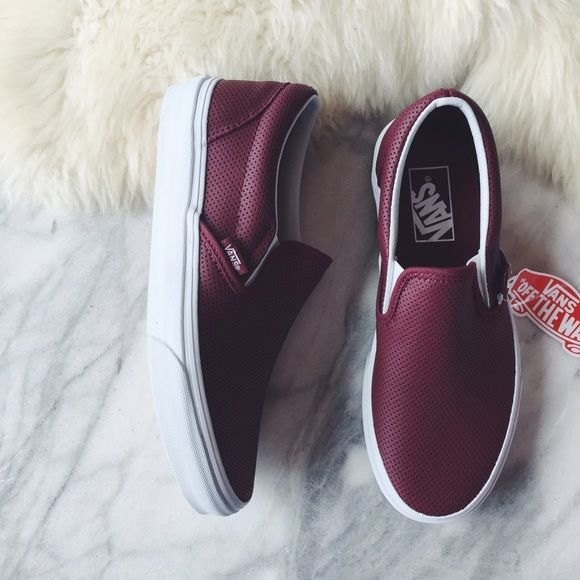 226026ad00e Vans Port Wine Perforated Leather Slip Ons •Port wine perforated leather Vans  classic slip ons •Women s size 6.5 •New in box.