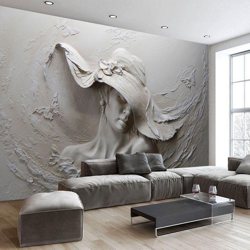 Best Embossed Gray Beauty Oil Paintingt Wall Mural Plaster 640 x 480