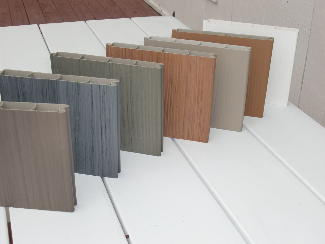 Vinyl Fence Samples With Wood Grain Look Multiple Colors