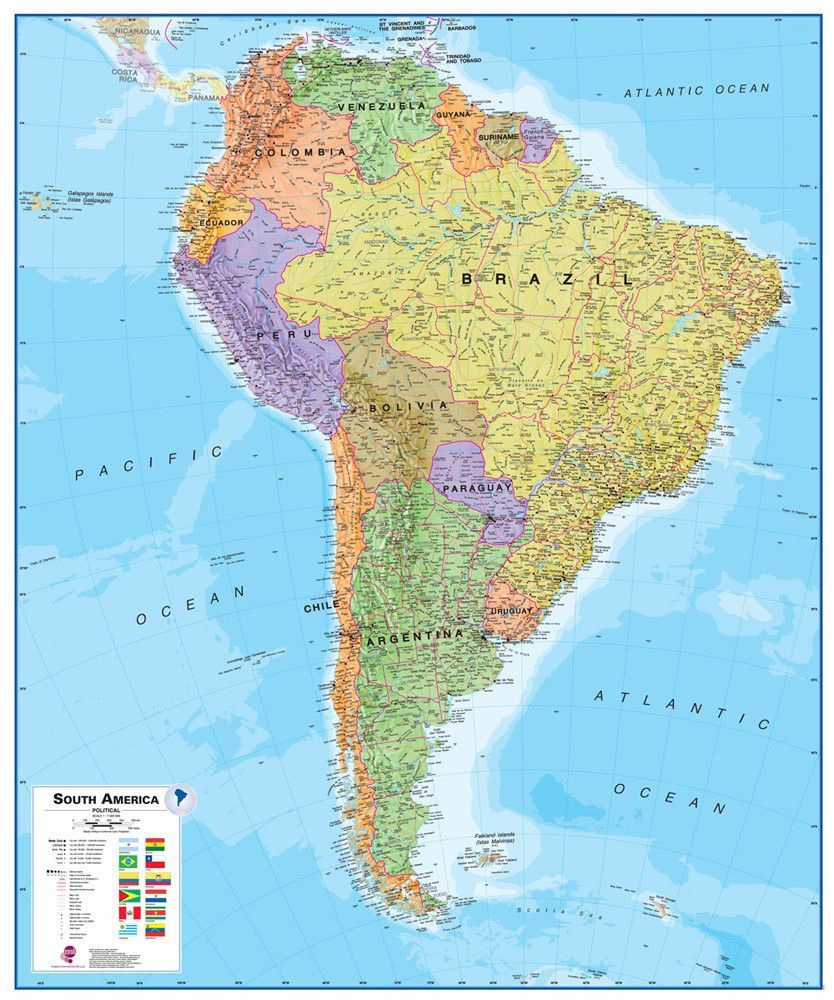 south america 1 7 laminated wall map con imágenes mapa on laminated wall maps id=16479