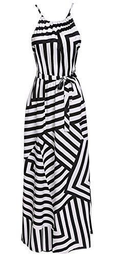 145d5dfc6f Chvity Womens Summer Geometric Striped Print Sleeveless Long Maxi Dress  Sundress Material  Polyester Color  Black   White Season  Summer