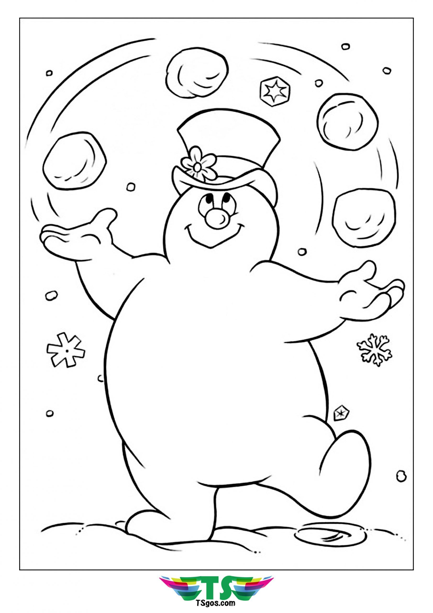 Frosty Snowman Playing Snowball Coloring Snowman Coloring Pages