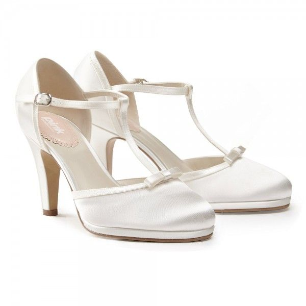 Pink Paradox Misty Dyeable Ivory Satin T Bar Wedding Shoes
