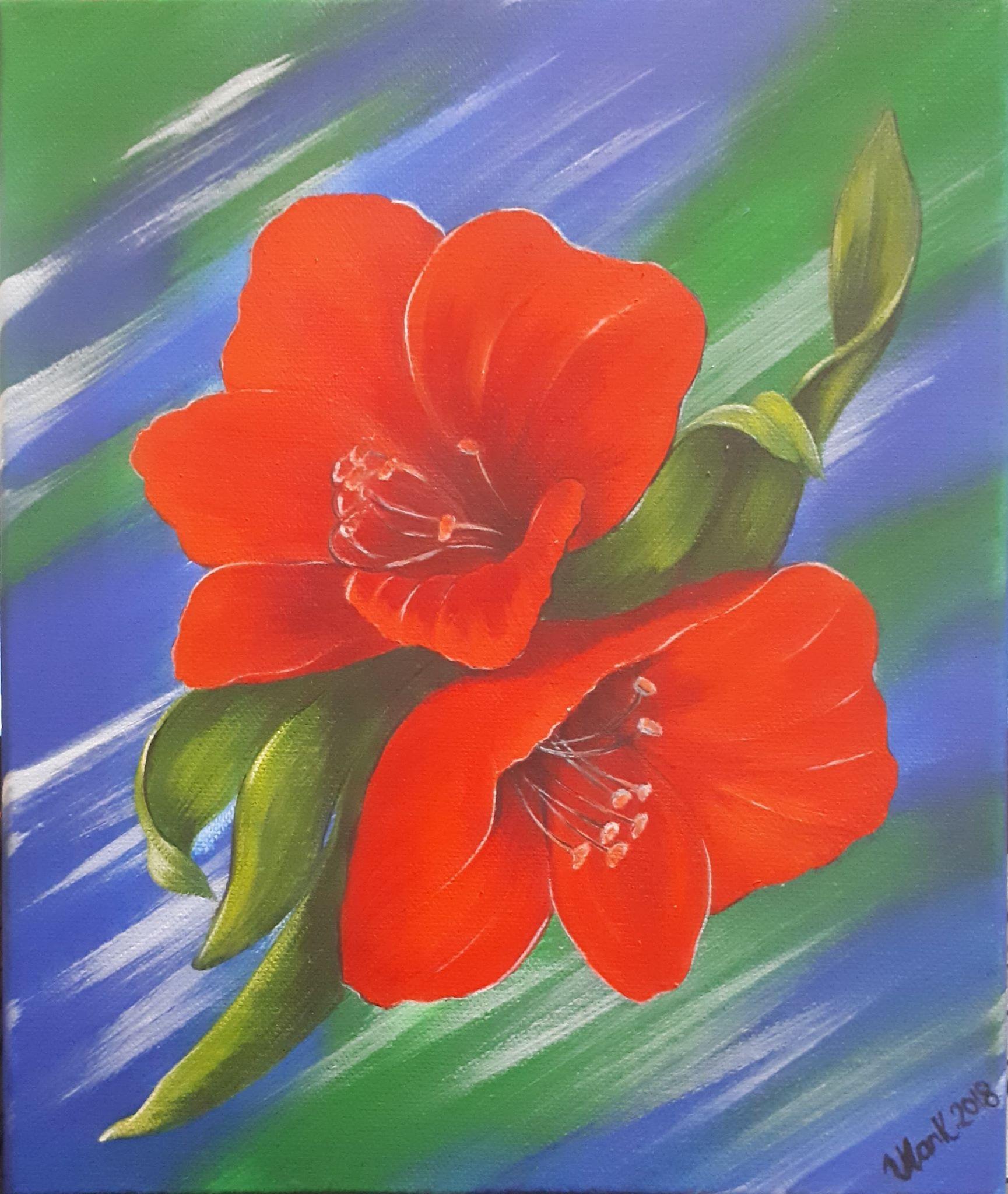 Amaryllis flower Lily 3Acrylic painting on canvas 24