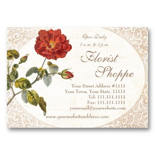 Beautiful red vintage rose old fashioned business card business beautiful red vintage rose old fashioned business card colourmoves