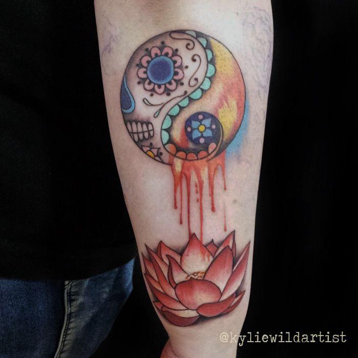 Sugar Skull Yin Yang Watercolor Tattoo with beautiful Lotus Flower ...
