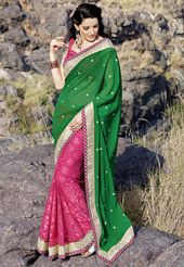 Green Faux Chiffon and Faux Georgette Brasso Saree with Blouse