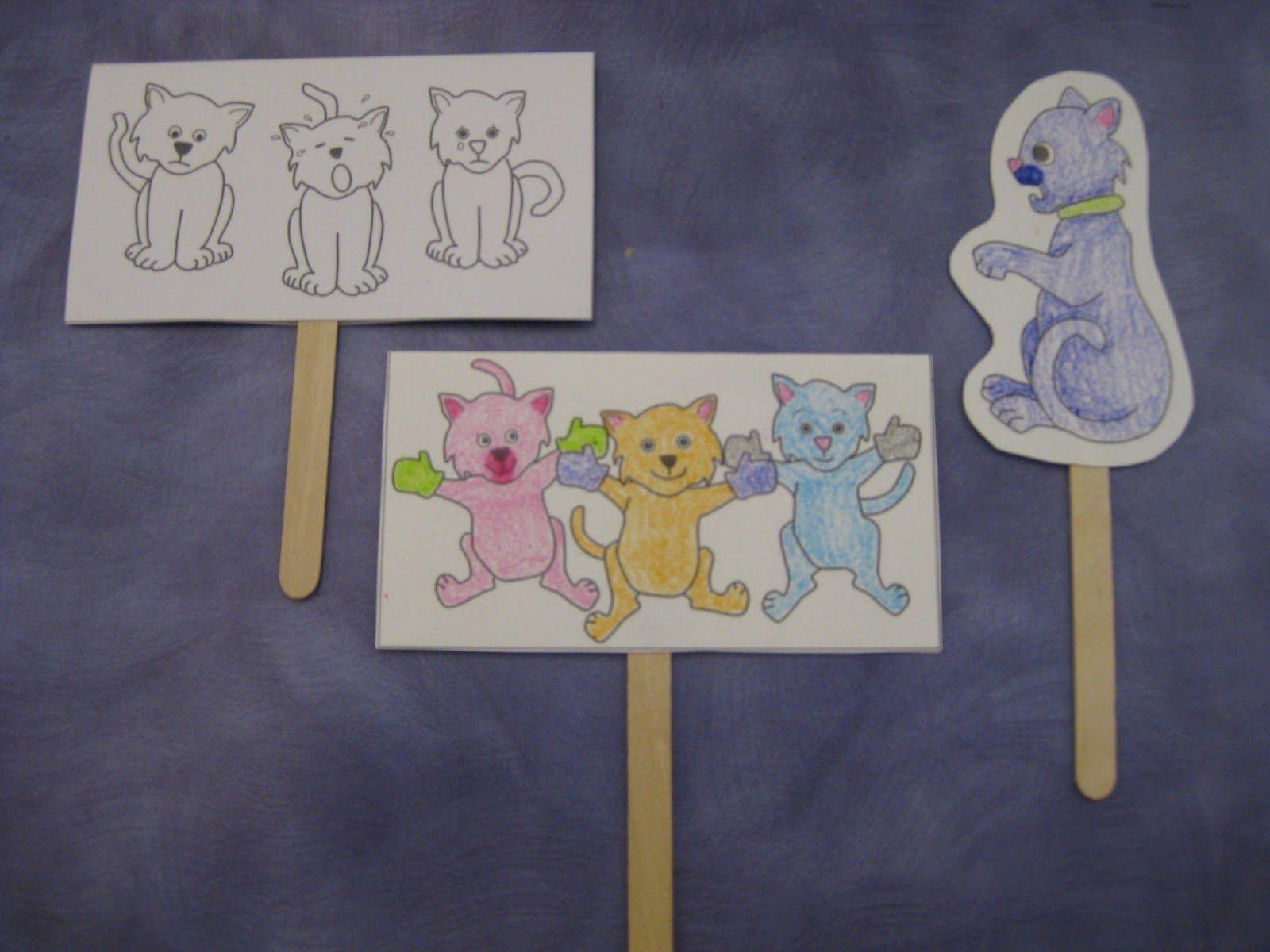 Three Little Kittens stick puppets Nursery rhyme crafts