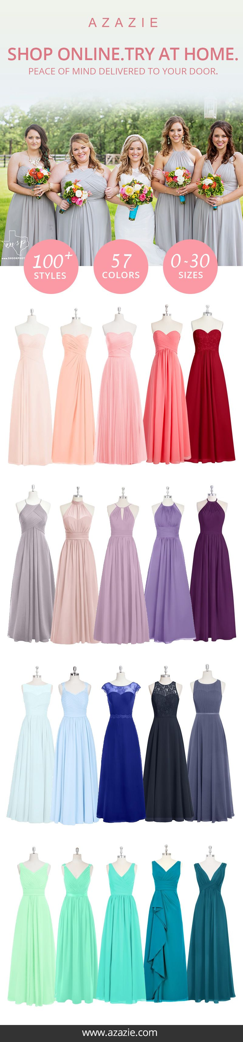 On the quest for the perfect dress? Experience Azazie's sample program and try on the dresses before you take the plunge! With over 100 styles, 57 colors and a wide range of sizes beginning from 0 to 30, perfect for your wedding party needs!