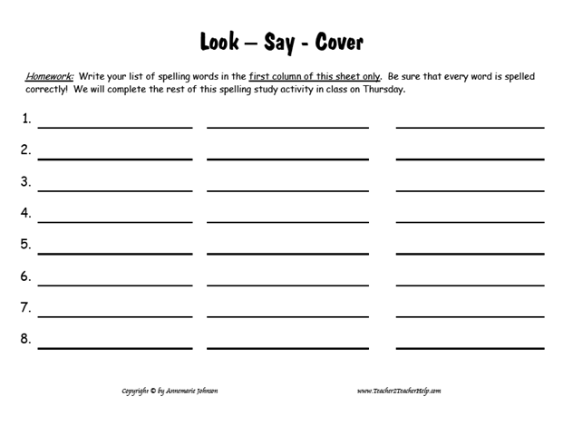 look cover write check free printable google esl primary years spelling test template. Black Bedroom Furniture Sets. Home Design Ideas
