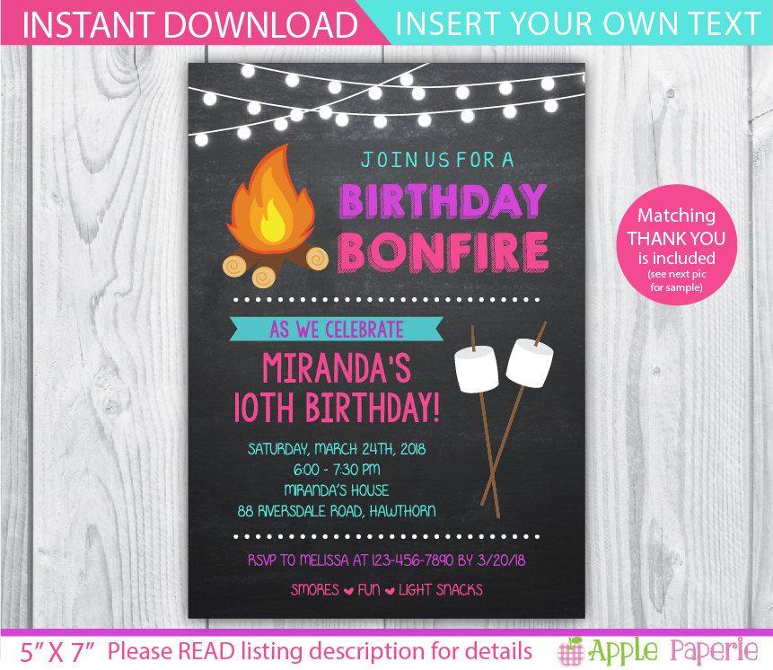 Camp Invitation Bonfire Invitation Bonfire By Tinyconfetti