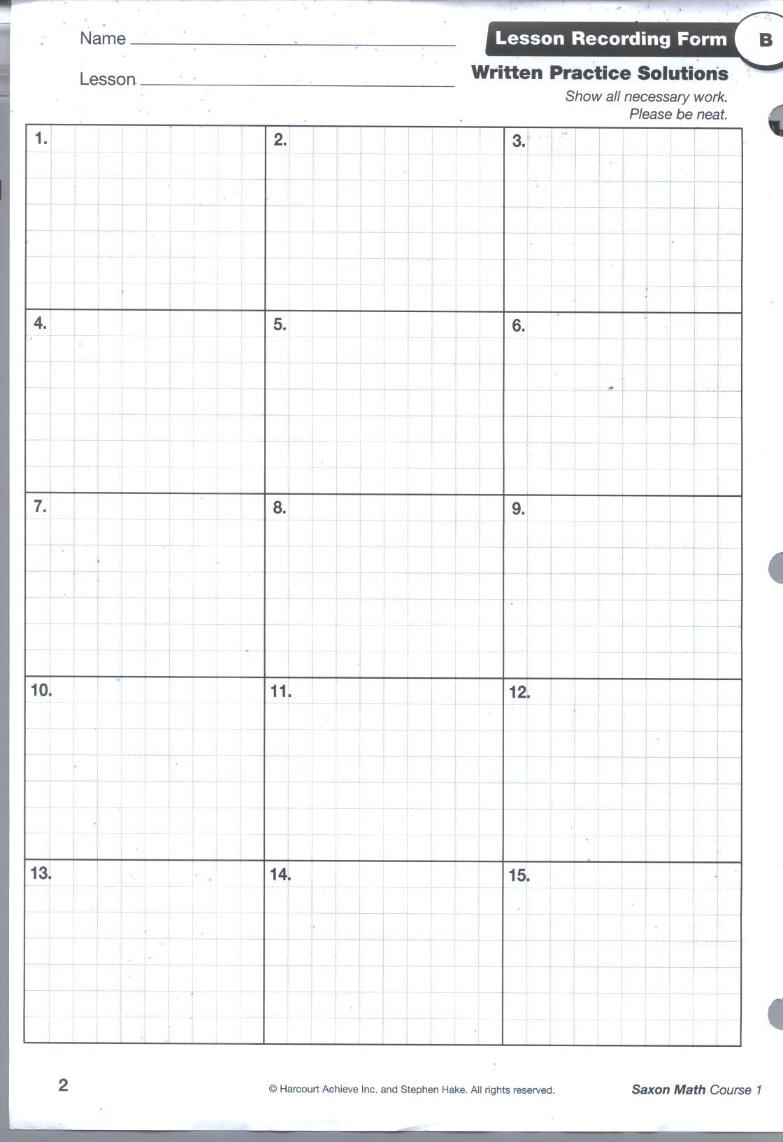 Saxon Math Grid Pg1 | Hudson | Pinterest | Math, Homeschool and ...