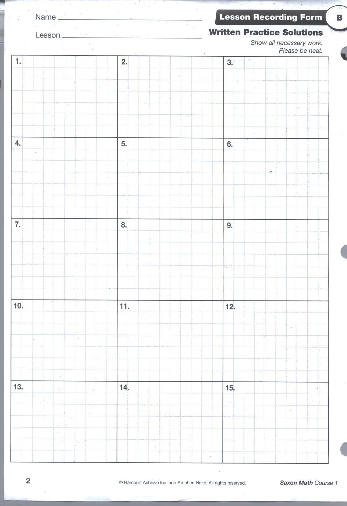 Saxon Math Grid Pg1