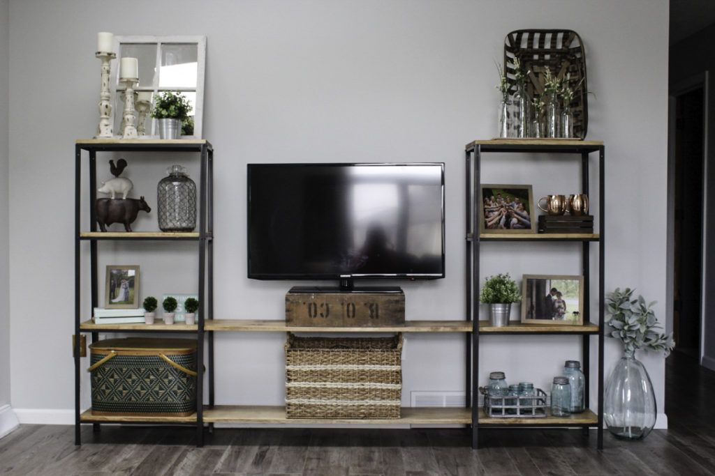 Ikea hyllis hack industrial media console silver lining - Muebles television ikea ...