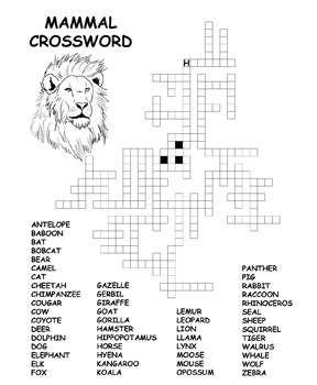 Free Kids Printable Activities Mammal Crossword