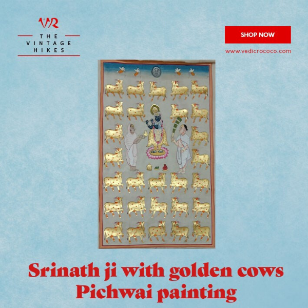 Pichwais is an intricate style of painting that depicts tales from Lord Krishna's life. Pichwai painting on Srinath ji with Golden cows is without frame. Our pichwai painting is 100% hand made, by Jaipur artisans.  #PichwaiPainting #VedicRococo #Art #HomeDecorPainting #HomeDecor