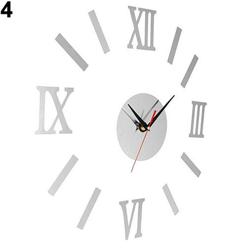 Photo of Vintage Roman Numerals Frameless Wall Clock 3D Home Decor Wall Art Stickers – Silver