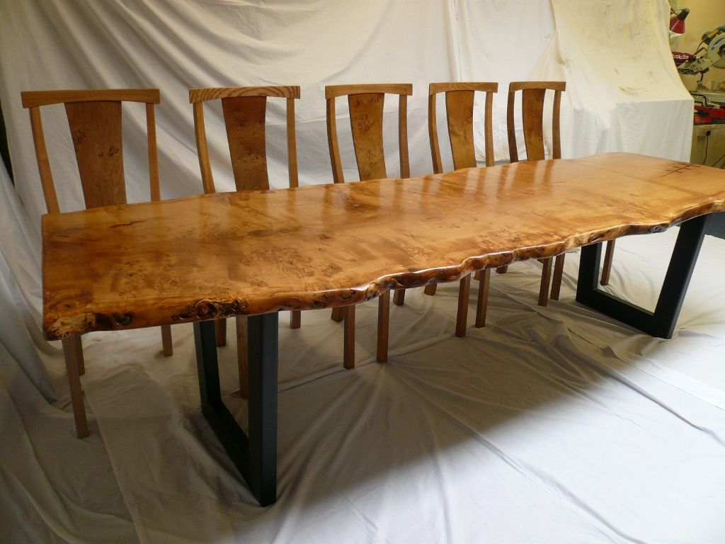 oak kitchen chairs Pippy Oak Slab Table With Metal Base chairs