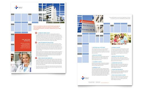 Hospital Datasheet InDesign Template by @StockLayouts InDesign - hospital flyer template