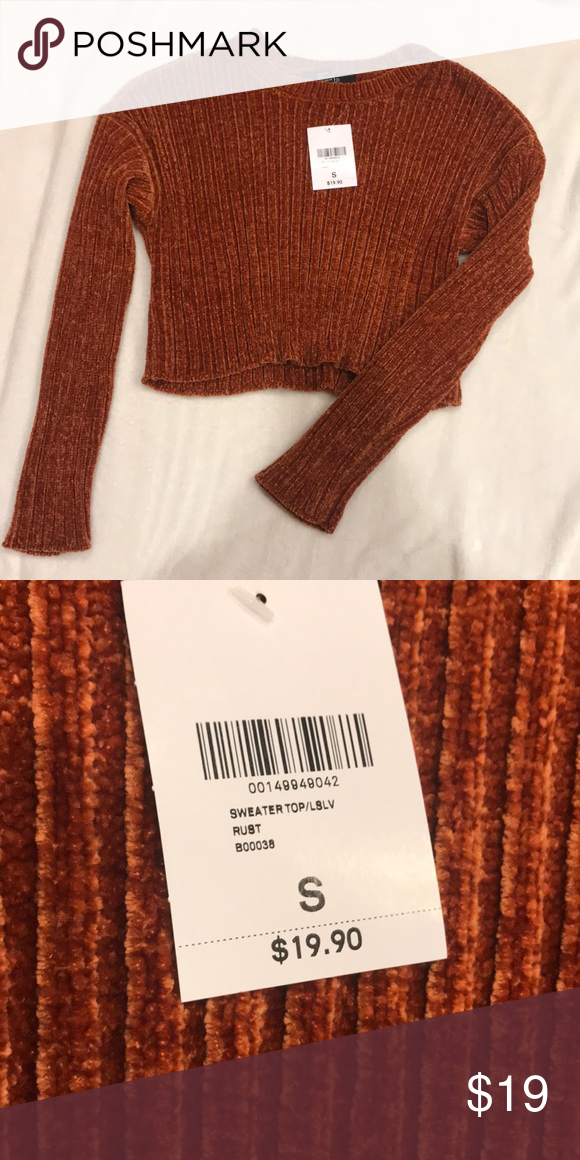 b2271ff7965ac4 Velvet cropped sweater Burnt orange cropped sweater, so so soft! Never worn Forever  21 Sweaters