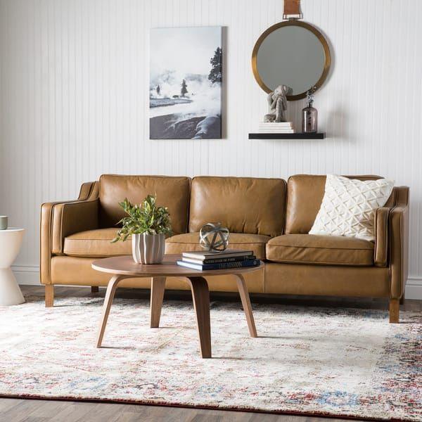 Jasper Laine Canape 86-inch Oxford Honey Leather Sofa, Tan, Jasper