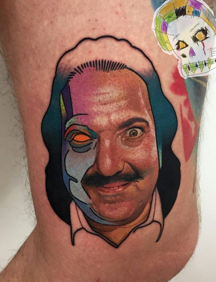 Ron Jeremy mashup portrait tattoo on the thigh.