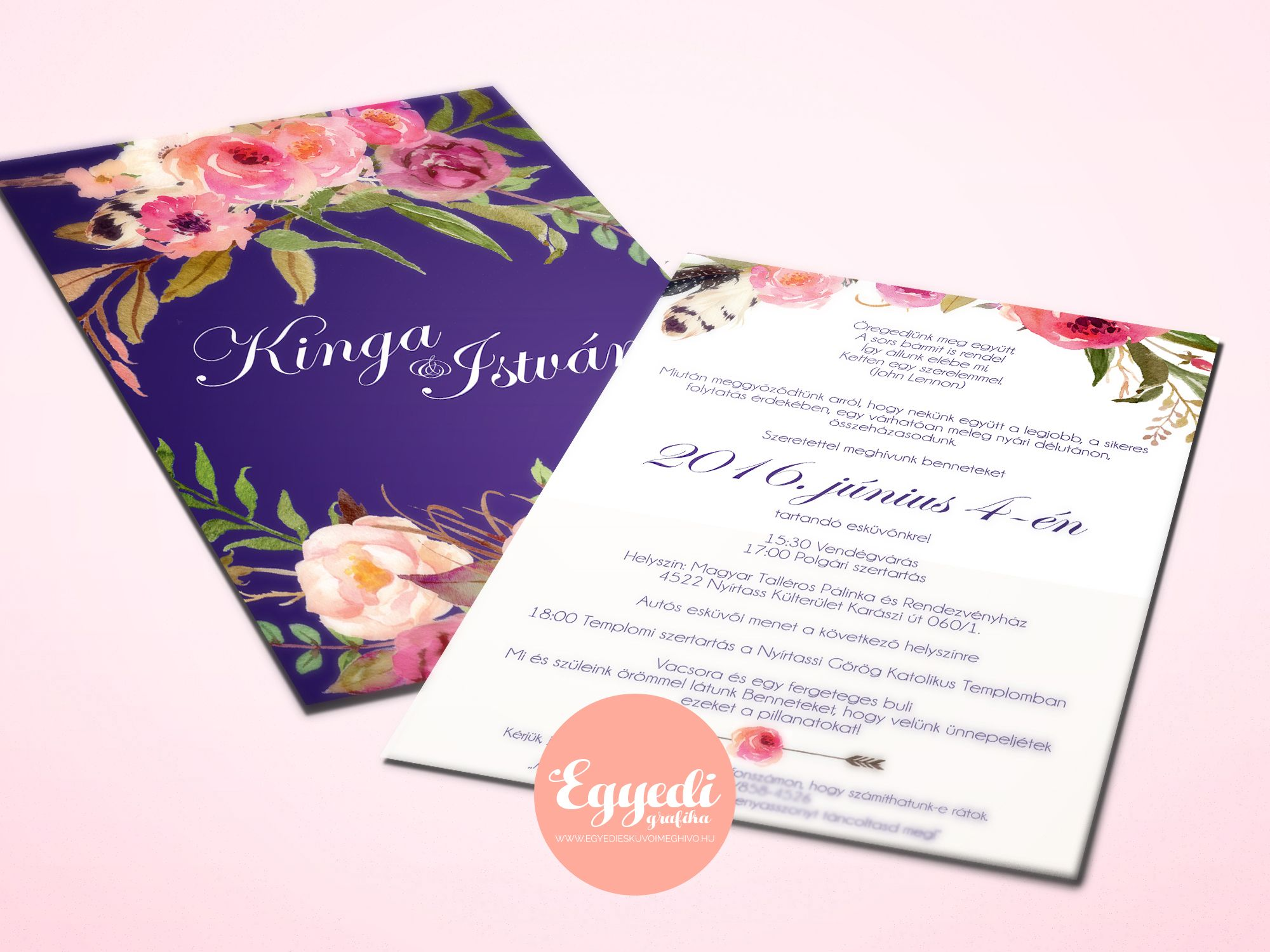 e7125b296b Élénk, virágos esküvői meghívó | Vibrant floral wedding invitation