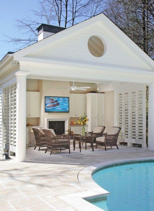 Pool House Designs, Pool Cabana With Bathroom
