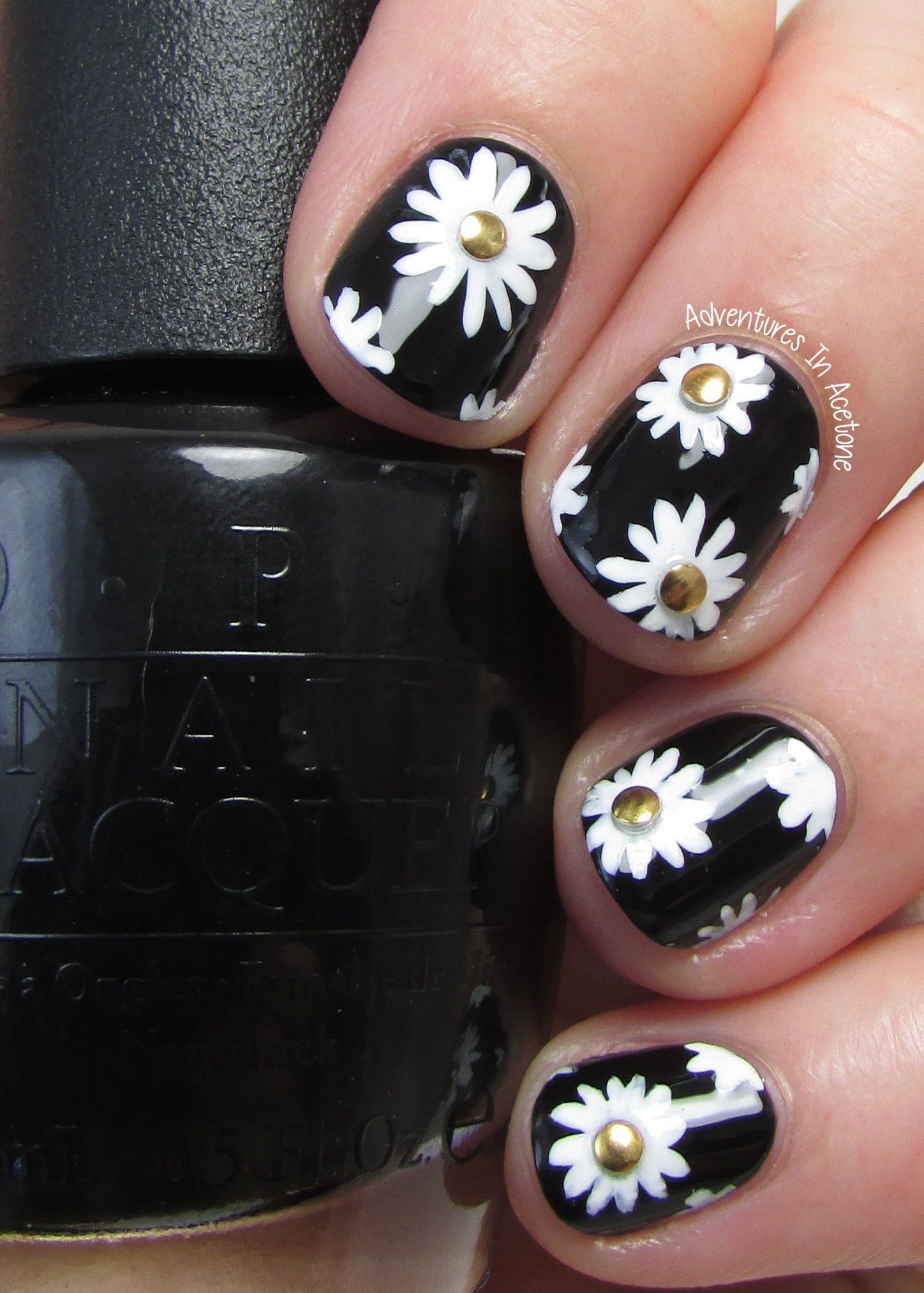 Black, white, and gold floral nail art 2 | Hair and Make-up ...
