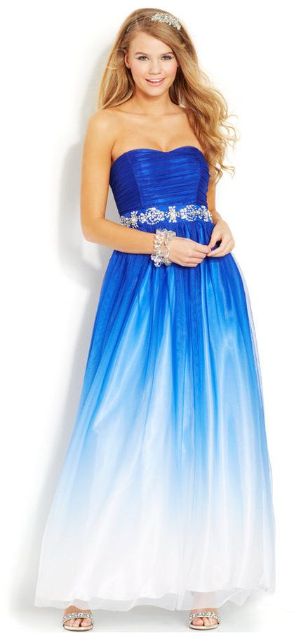 B Darlin Juniors\' Strapless Ombre Gown | Clothing Store | Pinterest ...