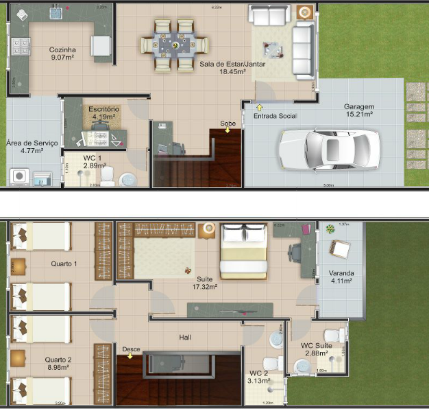 Plano de casa con terreno de 6 mts de frente x 20 de fondo for Diseno de casa de 7 x 17