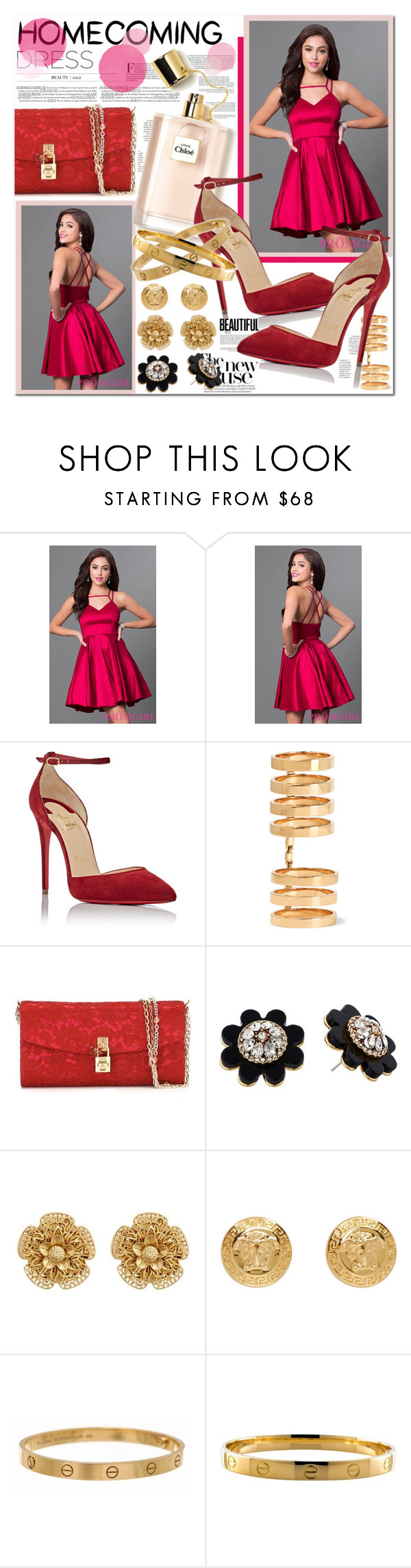 """""""homecoming"""" by misskouture ❤ liked on Polyvore featuring Christian Louboutin, Repossi, Dolce&Gabbana, Kate Spade, Miriam Haskell, Versace and Cartier"""