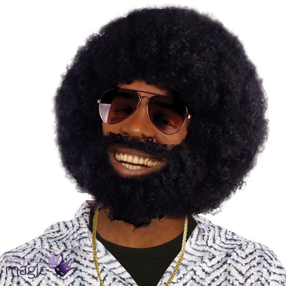 Mens Black Afro Wig Beard Lionel Facial Hair 1970s Disco