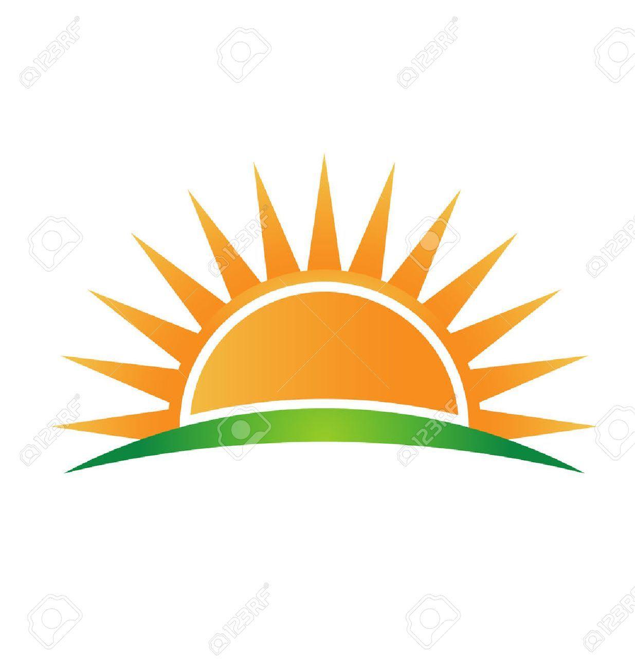 Sun Horizon And Sunrise Logo Sunrise Logo Vector Logo Abstract Logo