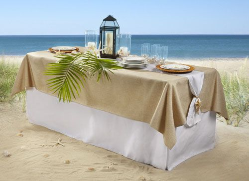 The Head Table Will Have A Full Burlap Tablecloth Over An Ivory Floor  Length One