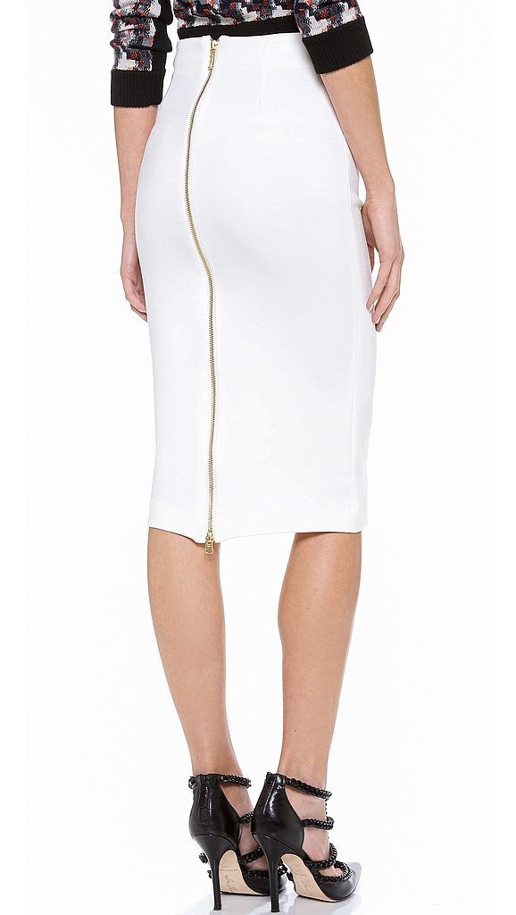 5th & Mercer White Pencil Skirt With Zipper | White pencil, White ...