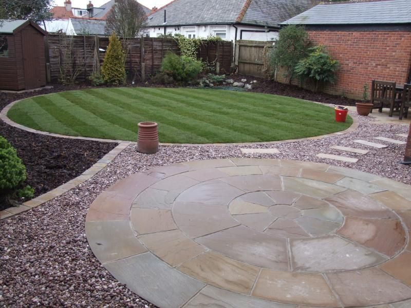 New Circular Garden Design Of Lawn And Patio.