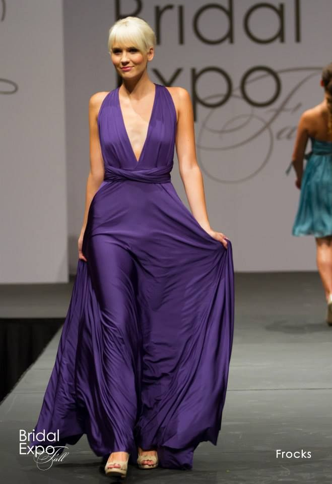 Purple halter style bridesmaid dress with deep v, Frocks Modern ...