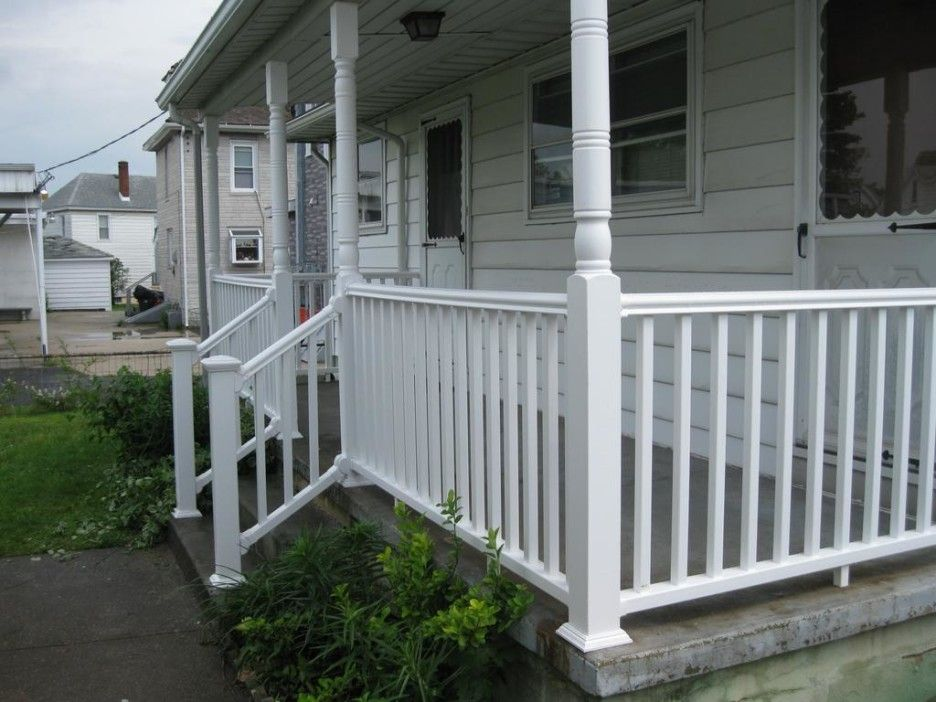 Raised Concrete Patio With Railing. Concrete Front Porch Ideas U0026  Recommendation Fascinating Decoration With White