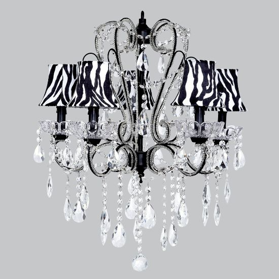 Five Arm Whimsical Beaded Chandelier in Black with Zebra Bell ...