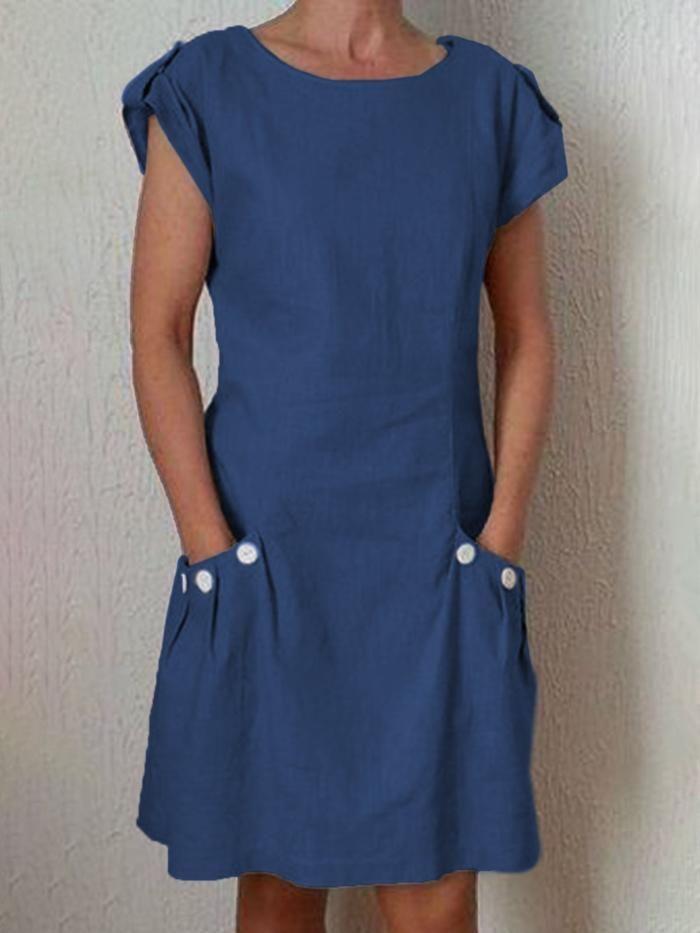 Photo of Kaufen Sie Kleider – Einfarbiges Kleid mit Taschen online. Entdecken Sie einziga …